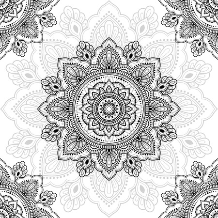 Illustration pour Seamless decorative ornament in ethnic oriental style. Circular pattern in form of mandala for Henna, Mehndi, tattoo, decoration. - image libre de droit