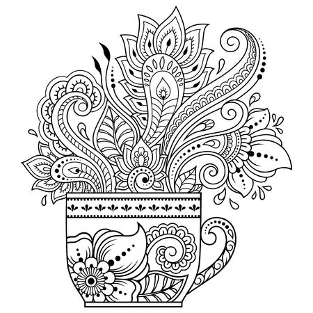 Illustration pour Stylized with henna tattoos decorative pattern in form of cup of coffee for decorating covers for book, notebook, casket and magazine. Flower in mehndi style in eastern tradition. Coloring book page. - image libre de droit