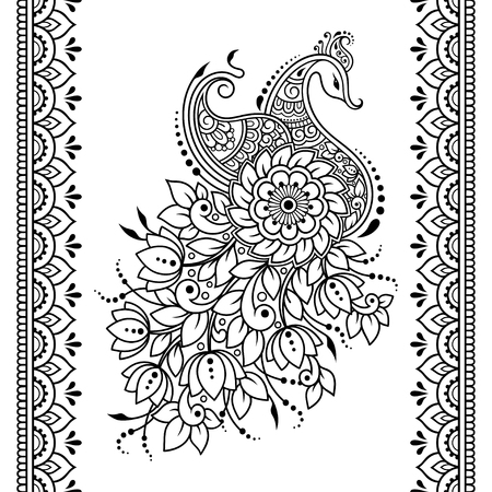 Ilustración de Set of Mehndi flower, peacock pattern and seamless border for Henna drawing and tattoo. Decoration in oriental, Indian style. - Imagen libre de derechos