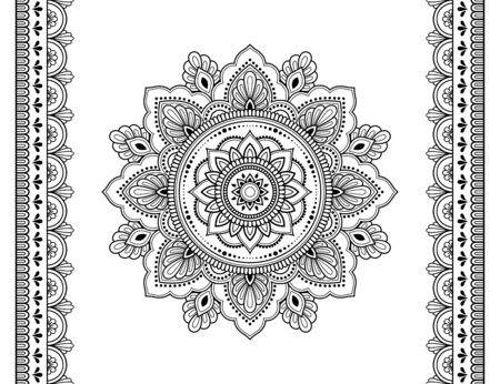 Illustration pour Set of mandala pattern and seamless border for Henna drawing and tattoo. Decoration in ethnic oriental mehndi, Indian style. Doodle ornament in black and white. Hand draw vector illustration. - image libre de droit
