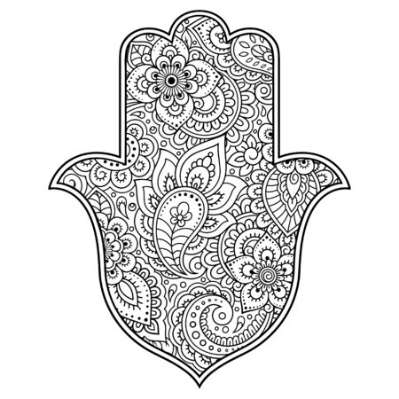 Illustration pour Hamsa hand drawn symbol with flower. Decorative pattern in oriental style for interior decoration and henna drawings. The ancient sign of Hand of Fatima. - image libre de droit