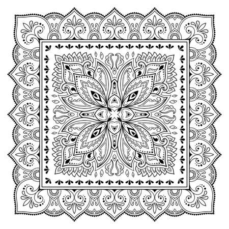 Illustration for Square pattern in form of mandala with flower for Henna, Mehndi, tattoo, decoration. Decorative ornament in ethnic oriental style. Outline doodle hand draw vector illustration. - Royalty Free Image