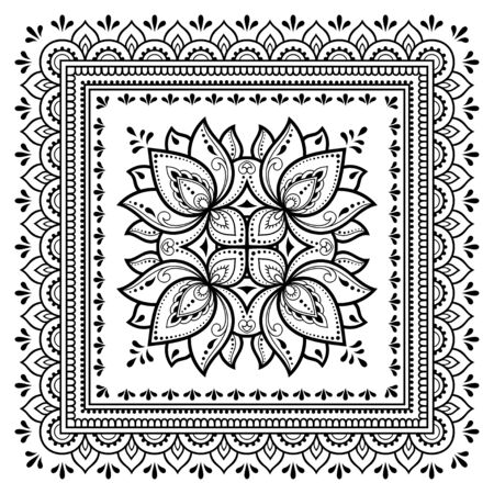 Illustration for Square pattern in form of mandala with Lotus flower for Henna, Mehndi, tattoo, decoration. Decorative ornament in ethnic oriental style. Outline doodle hand draw vector illustration. - Royalty Free Image