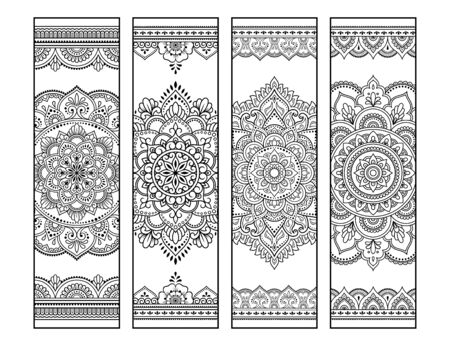 Illustration pour Printable bookmark for book - coloring. Set of black and white labels with mandala patterns, hand draw in mehndi style. Sketch of ornaments for creativity of children and adults with colored pencils. - image libre de droit