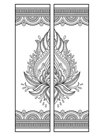 Illustration pour Printable bookmark  - coloring. Set of black and white labels with lotus flower patterns, hand draw in mehndi style. Sketch of ornaments for creativity of children and adults with colored pencils. - image libre de droit