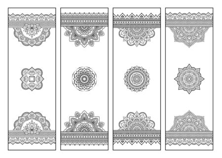Illustration pour Printable bookmark for book - coloring. Set of black and white labels with flower patterns, hand draw in mehndi style. Sketch of ornaments for creativity of children and adults with colored pencils. - image libre de droit