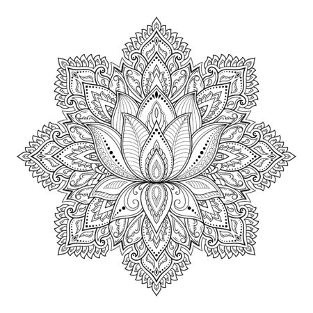 Illustration pour Circular pattern in form of mandala with lotus flower for Henna, Mehndi, tattoo, decoration. Decorative ornament in ethnic oriental style. Outline doodle hand draw vector illustration. - image libre de droit