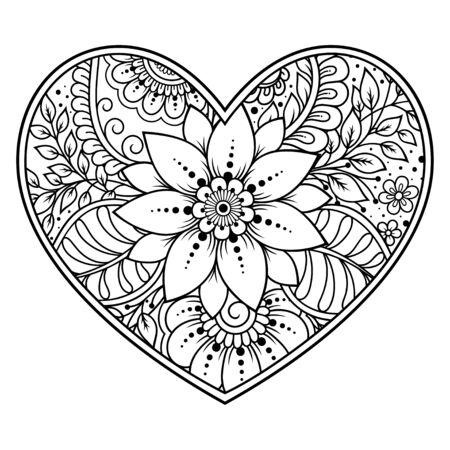 Photo pour Mehndi flower pattern in form of heart for Henna drawing and tattoo. Decoration in ethnic oriental, Indian style. Valentine's day greetings. Coloring book page. - image libre de droit
