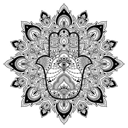 Illustration pour Circular pattern in form of mandala for Henna, Mehndi, tattoo, decoration. Decorative ornament in oriental style with Hamsa hand drawn symbol. Coloring book page. - image libre de droit