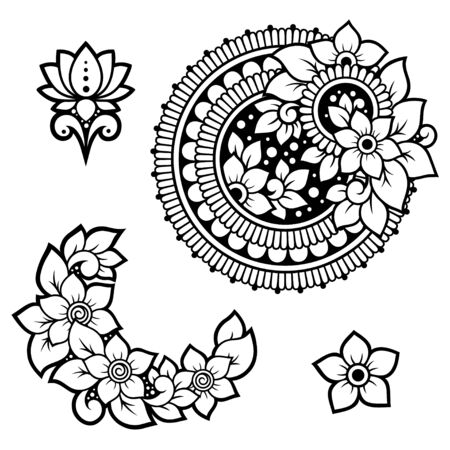 Illustration pour Set of Mehndi flower pattern and mandala for Henna drawing and tattoo. Decoration in ethnic oriental, Indian style. Doodle ornament. Outline hand draw vector illustration. - image libre de droit