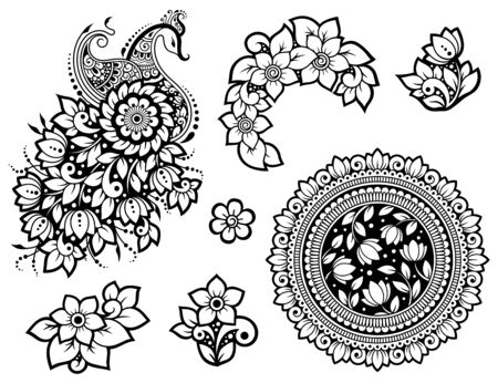 Illustration pour Big set of Mehndi flower pattern, peacock and mandala for Henna drawing and tattoo. Decoration in ethnic oriental, Indian style. Doodle ornament. Outline hand draw vector illustration. - image libre de droit