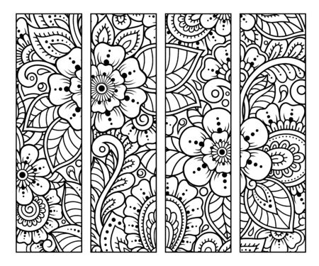 Illustration pour Bookmark for book - coloring. Set of black and white labels with floral doodle patterns, hand draw in mehndi style. Sketch of ornaments for creativity of children and adults with colored pencils. - image libre de droit