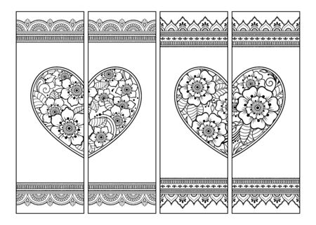 Illustration pour Printable bookmark for book - coloring. Set of black and white labels with heart and flower patterns in mehndi style. Sketch of ornaments for creativity of children and adults with colored pencils. - image libre de droit