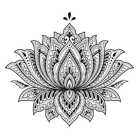 Illustration pour Lotus mehndi flower pattern for Henna drawing and tattoo. Decoration in oriental, Indian style. Doodle ornament. Outline hand draw vector illustration. - image libre de droit