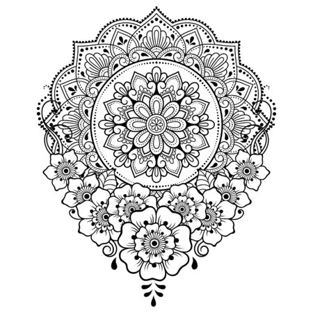 Illustration pour Circular pattern in form of mandala with flower for Henna, Mehndi, tattoo, decoration. Decorative ornament in ethnic oriental style. Outline doodle hand draw vector illustration. - image libre de droit
