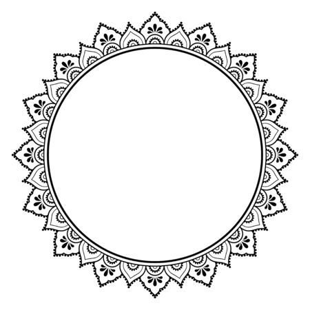 Illustration pour Frame in eastern tradition. Stylized with henna tattoos decorative pattern for decorating covers for book, notebook, casket, magazine, postcard and folder. Flower mandala in mehndi style. - image libre de droit