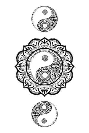 Illustration pour Circular pattern in form of mandala for Henna, Mehndi, tattoo, decoration. Decorative ornament in ethnic oriental style with Yin-yang hand drawn symbol. Outline doodle vector illustration. - image libre de droit