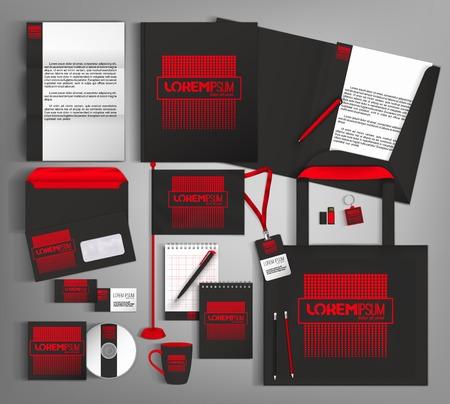 Illustration pour Black and red trendy corporate identity template design. - image libre de droit