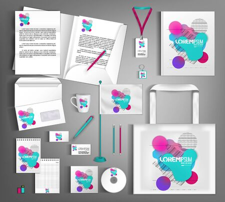 Illustration pour White corporate identity design template with multi-colored shapes of fluid and geometry. - image libre de droit