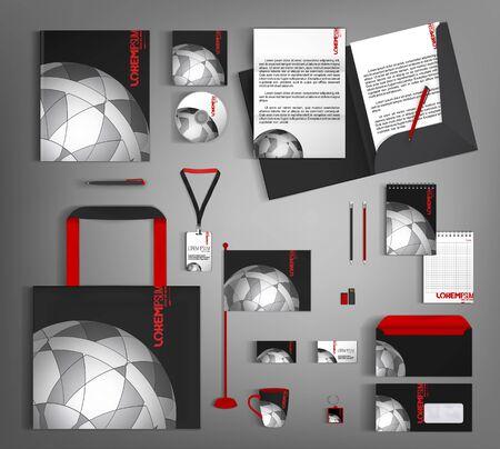 Illustration pour Black corporate style with a gray semicircular element. Business stationery set. - image libre de droit