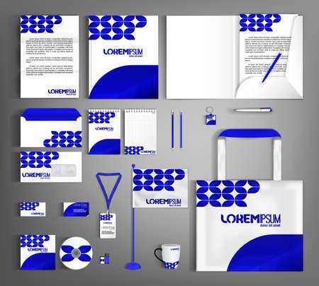 Illustration pour White and blue trendy corporate identity template design. - image libre de droit