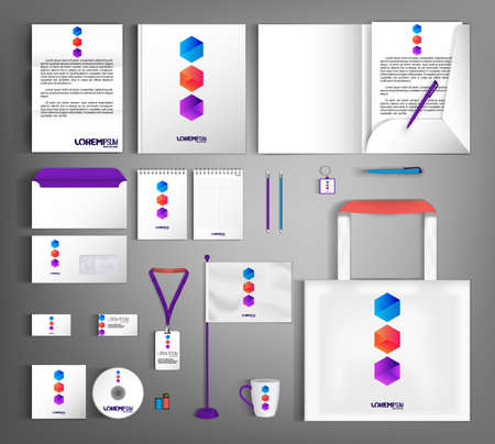 Illustration for White corporate identity template design with geometric colorful object. - Royalty Free Image