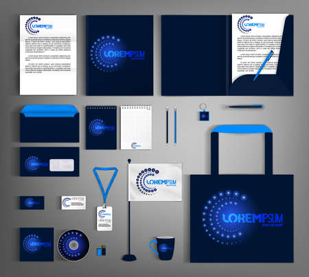 Illustration for Blue corporate identity template with abstract circular element. Business set of stationery. - Royalty Free Image