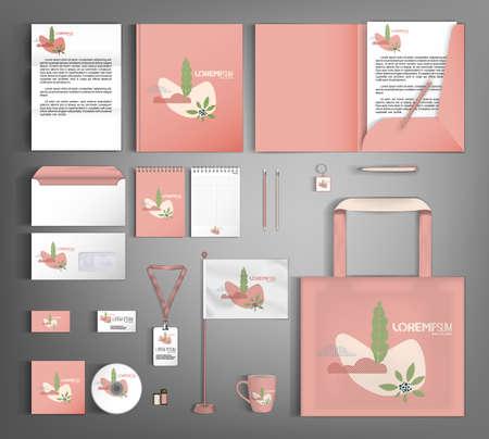 Illustration pour Corporate identity template with minimalist style floral ornament. Set of business office supplies. - image libre de droit
