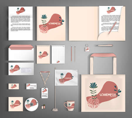 Illustration for Corporate identity template with minimalist style floral ornament. Set of business office supplies. - Royalty Free Image