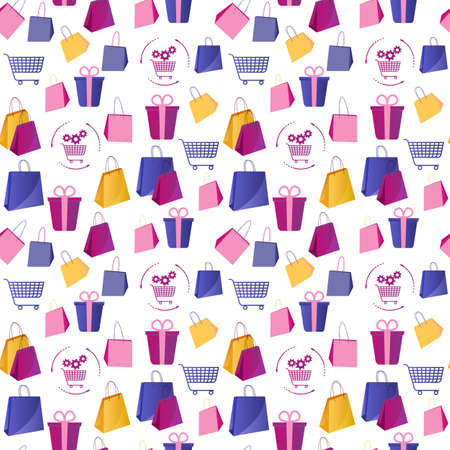 Illustration for Colorful seamless pattern with shopping. Illustration in flat style with boxes and packages - Royalty Free Image