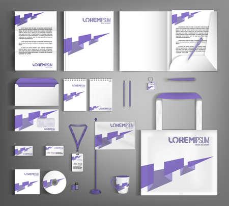 Illustration pour White design corporate identity template with purple arrow. Business branding stationery set. - image libre de droit
