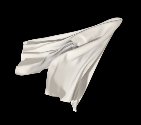 flying abstract white cloth isolated on black background