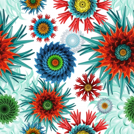 abstract seamless patternwith colorful mix of stars and flowers