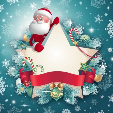 Christmas greeting card template,  star banner and Santa