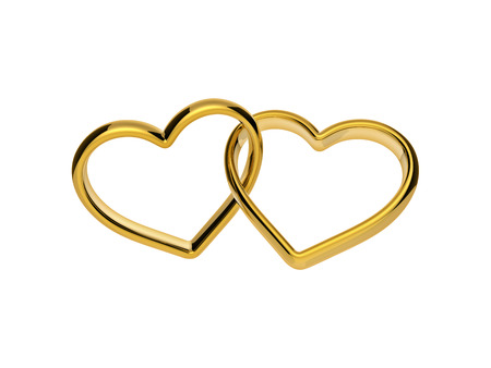 3d golden hearts connected together, linked rings, marriage symbol