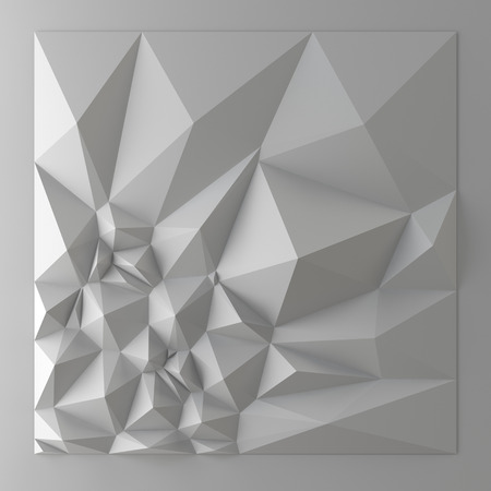3d white abstract geometric shapes, polygonal pyramids background