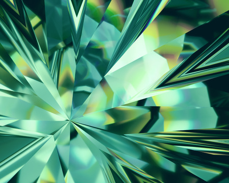 Photo pour 3d abstract emerald green crystal background, faceted glass - image libre de droit