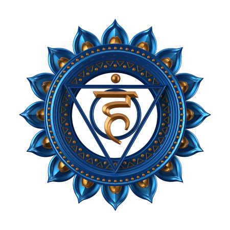 abstract blue Vishuddha chakra symbol, 3d modern illustration