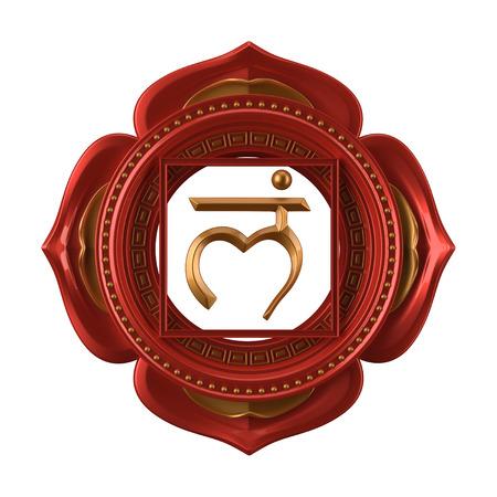 abstract red Muladhara chakra symbol, 3d modern illustration