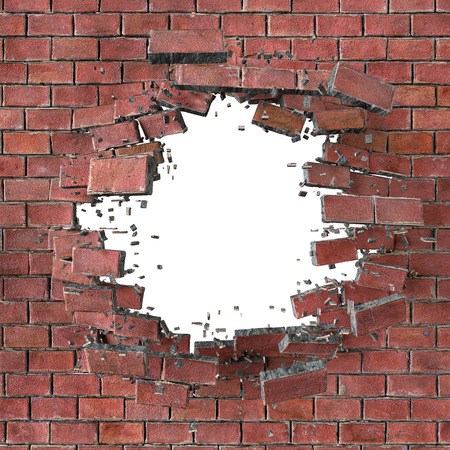 3d render, illustration, explosion, cracked red brick wall, bullet hole, destruction, abstract background