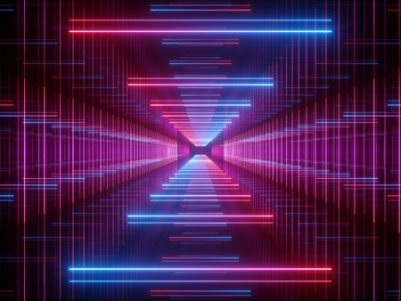 Photo for 3d render, glowing lines, neon lights, abstract psychedelic background, corridor, tunnel, ultraviolet, spectrum vibrant colors, laser show - Royalty Free Image