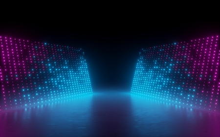 Photo for 3d render, abstract background, screen pixels, glowing dots, neon lights, virtual reality, ultraviolet spectrum, pink blue vibrant colors, catwalk fashion podium, laser show, stage, isolated on black - Royalty Free Image