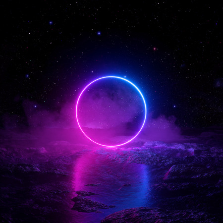 3d render, abstract background, cosmic landscape, round portal, pink blue neon light, virtual reality, energy source, glowing round frame, dark space, ultraviolet spectrum, laser ring, fog, ground