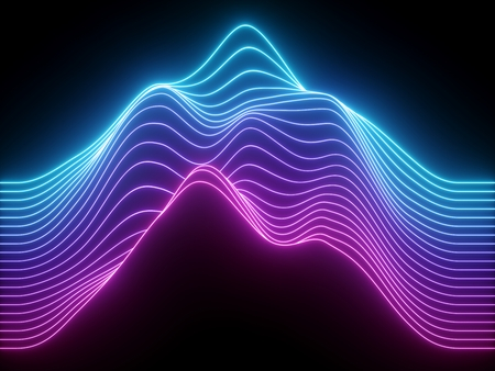 Photo for 3d render, pink blue wavy neon lines, electronic music virtual equalizer, sound wave visualization, ultraviolet light abstract background - Royalty Free Image