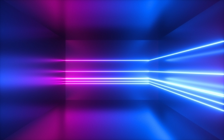Photo for 3d render, pink blue neon lines, abstract background, empty room, geometric shapes, virtual space, ultraviolet light, 80's style, retro disco club, fashion laser show - Royalty Free Image