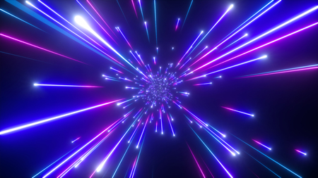 Photo for 3d render, big bang, galaxy, abstract cosmic background, celestial, beauty of universe, speed of light, fireworks, neon glow, stars, cosmos, ultraviolet infrared light, outer space - Royalty Free Image