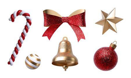 Photo pour 3d Christmas clip art. Set of design elements, isolated on white - image libre de droit