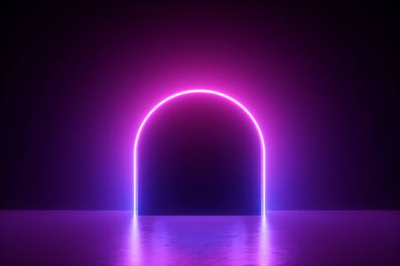 Photo for 3d render, abstract minimal neon background, pink violet line, round arch glowing in the dark, blank space, ultraviolet light, 80's retro style, fashion show, performance stage design - Royalty Free Image