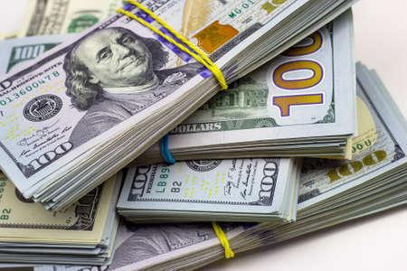 Photo pour American dollar usa packs on money background. Financial concept. - image libre de droit