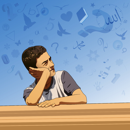 Thinking boy and imagination